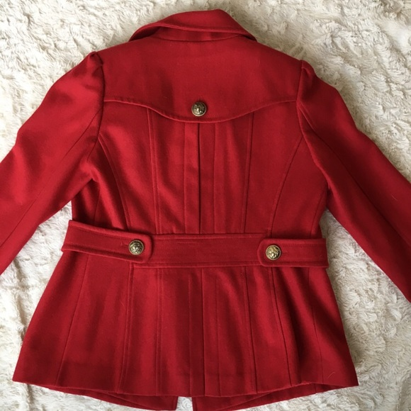 Red GUESS Brand Women's Wool Pea Coat